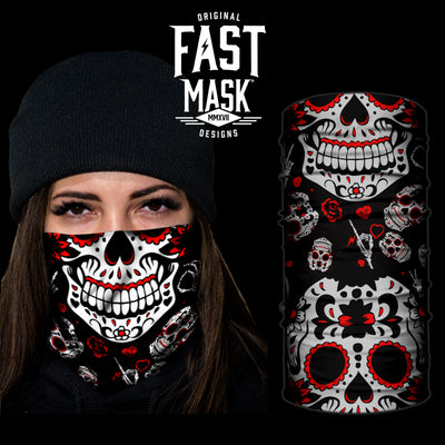 Red Sugar Skull Fast Mask - *Now with Sewn Edges* - Fast Mask