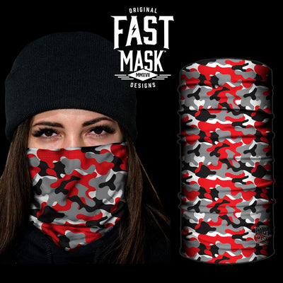 Red Camo Fast Mask- *Now with Sewn Edges* - Fast Mask