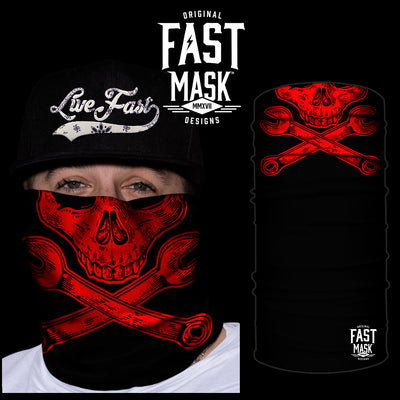 Red Skull N Wrenches  Face Mask - *Now with Sewn Edges* - Fast Mask