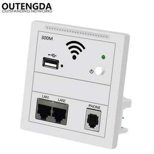 300Mbps In Wall AP Repeater WiFi Wall Socket Router Access Point Wireless Wall AP RJ45 220V PoE WiFi Extender USB Chargin Router