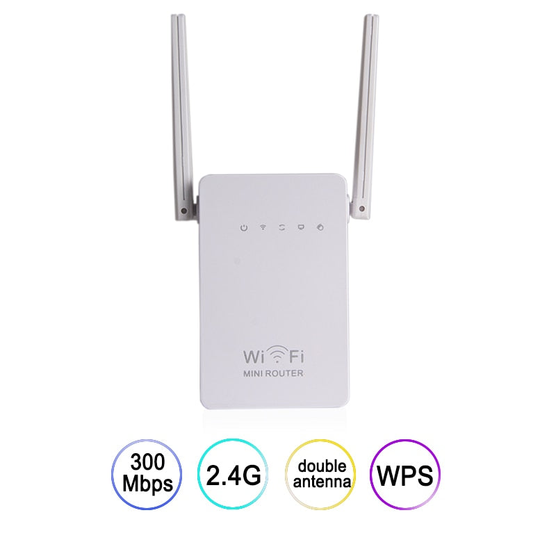 HOT Mini Wifi Router 2.4G 300Mbps Wireless-N Network Wi Fi Repeater Range Expander Signal Booster 2dBi Antenna 802.11 b/g/n