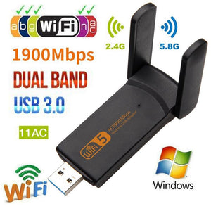 1900Mbps Wireless Usb 3.0 Network Card 802.11Ac Dual Band 2.4G/5.8Ghz Wifi W3S4