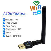 Load image into Gallery viewer, Wifi Antenna Network Card Free Driver AC600Mbps USB Wifi Wireless Adapter RTL8811AU 2.4G 5.8G Dual Band for Win Max Linx2.6X