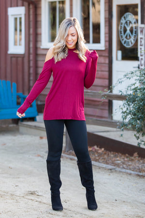The Little Wine Top Cold Shoulder