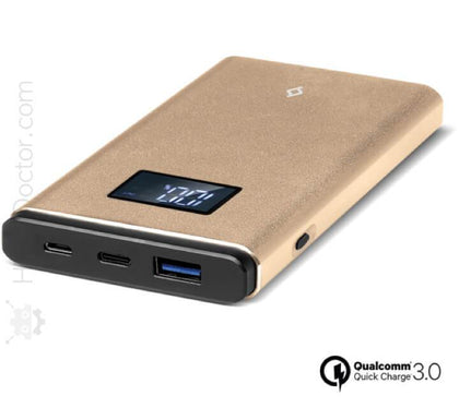Power Bank AlumiSlim QC LCD 10.000mAh Gold - HitechDoctor.com