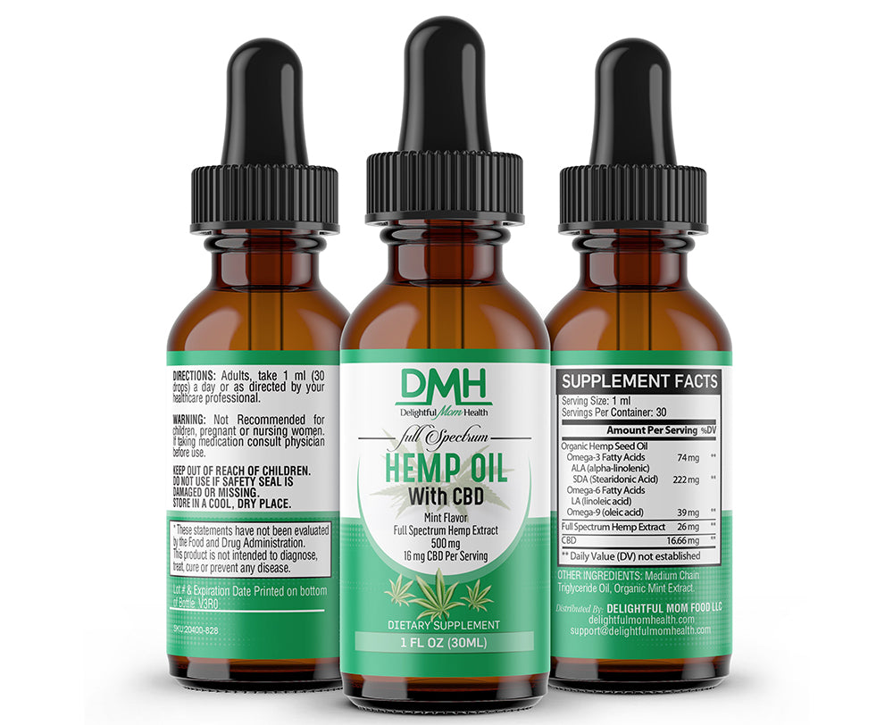 Full Spectrum Hemp CBD Oil - 500mg Hemp Extract with 16mg CBD per serving