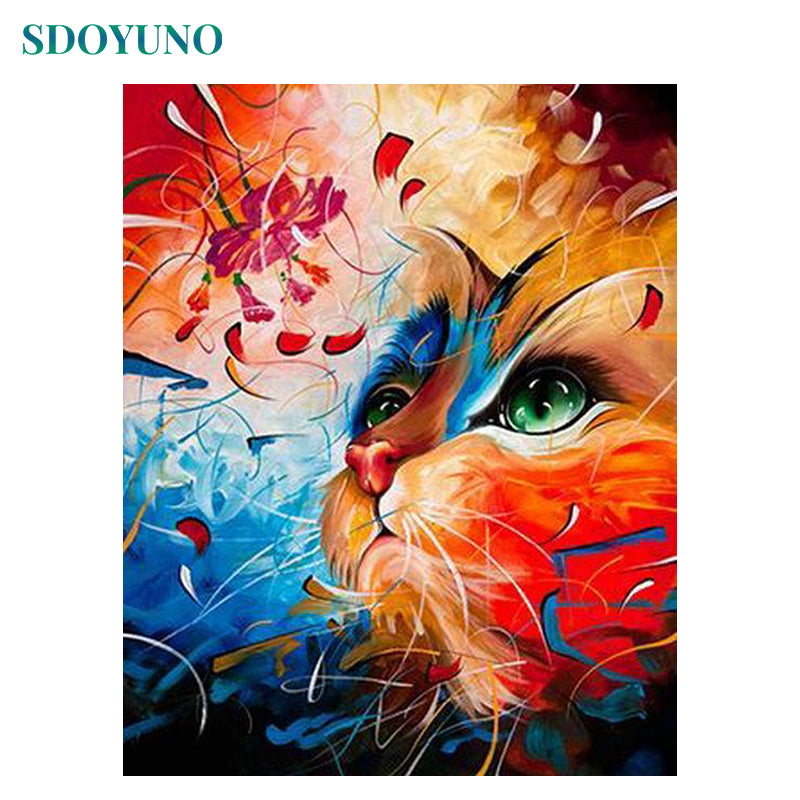 SDOYUNO 60x75cm Frame DIY Painting By Numbers Color Cat Animals Paint