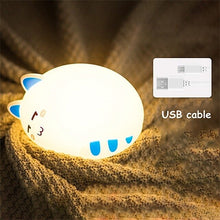 Load image into Gallery viewer, USB charging silicone LED cartoon cute cat animal night light baby bedroom breathing