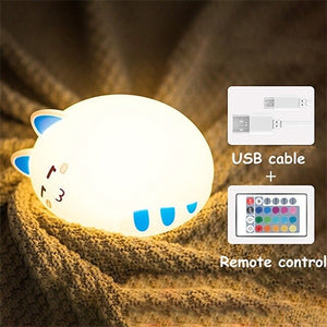 USB charging silicone LED cartoon cute cat animal night light baby bedroom breathing