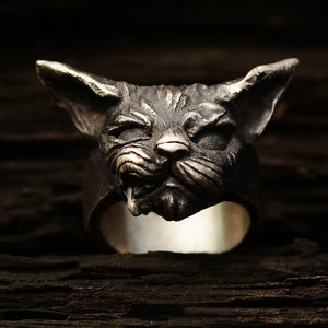 Original hand-designed Vintage Sterling Silver pet grinning tusk cat meowing star ring