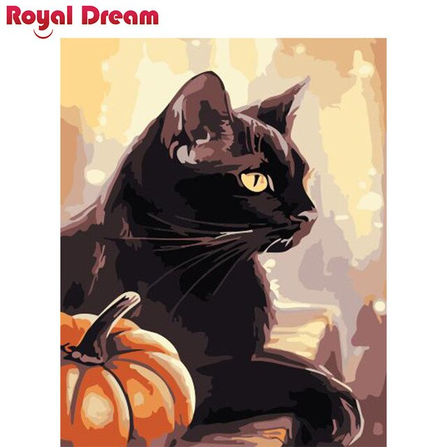Pumpkin cat DIY Painting By Numbers Canvas Painitng Home Wall Art Picture Coloring By Numbers For Home Decor