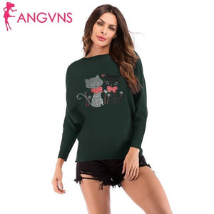Women Fashion Casual Cat Print O Neck Long Bat Sleeve Thin Sweater Top Outwear Spring/Winter/Autumn