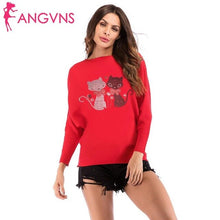 Load image into Gallery viewer, Women Fashion Casual Cat Print O Neck Long Bat Sleeve Thin Sweater Top Outwear Spring/Winter/Autumn