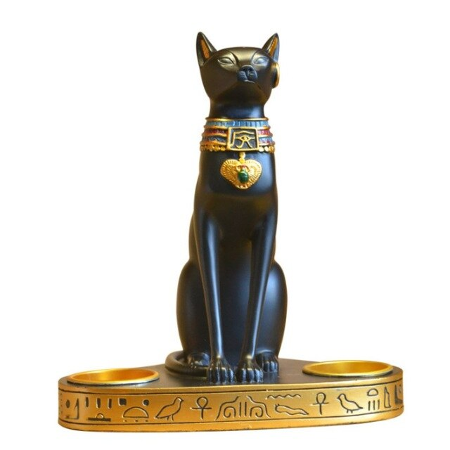 Resin Ancient Egyptian Cat Candle Holder Crafts Candlestick Romantic Dinner Candle Holder Home Table
