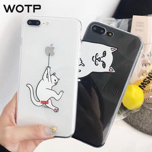 WOTP 3D Cartoon Middle Finger Cat Phone Case For iphone 7 Plus X XS Max XR 6 6S 7 8Plus Funny Lovers Soft TPU Animal Phone Bag