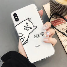 Load image into Gallery viewer, WOTP 3D Cartoon Middle Finger Cat Phone Case For iphone 7 Plus X XS Max XR 6 6S 7 8Plus Funny Lovers Soft TPU Animal Phone Bag