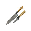 Dedfish Co. Kitchen Knife Set - Laser Etched Stainless Steel with Olive Wood Handles