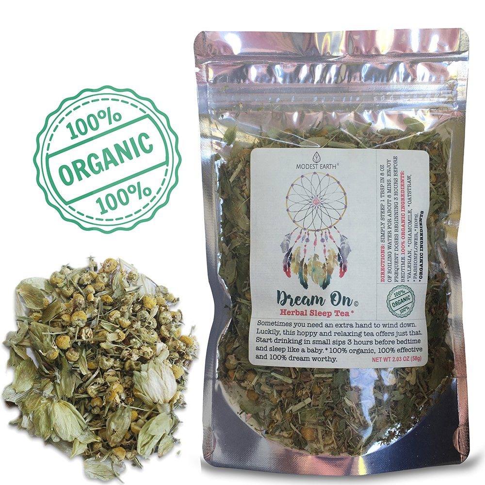 Dream On Organic Herbal Tea | Valerian Insomnia & Anxiety Remedy | BETTER, DEEPER SLEEP | 32+ cups)