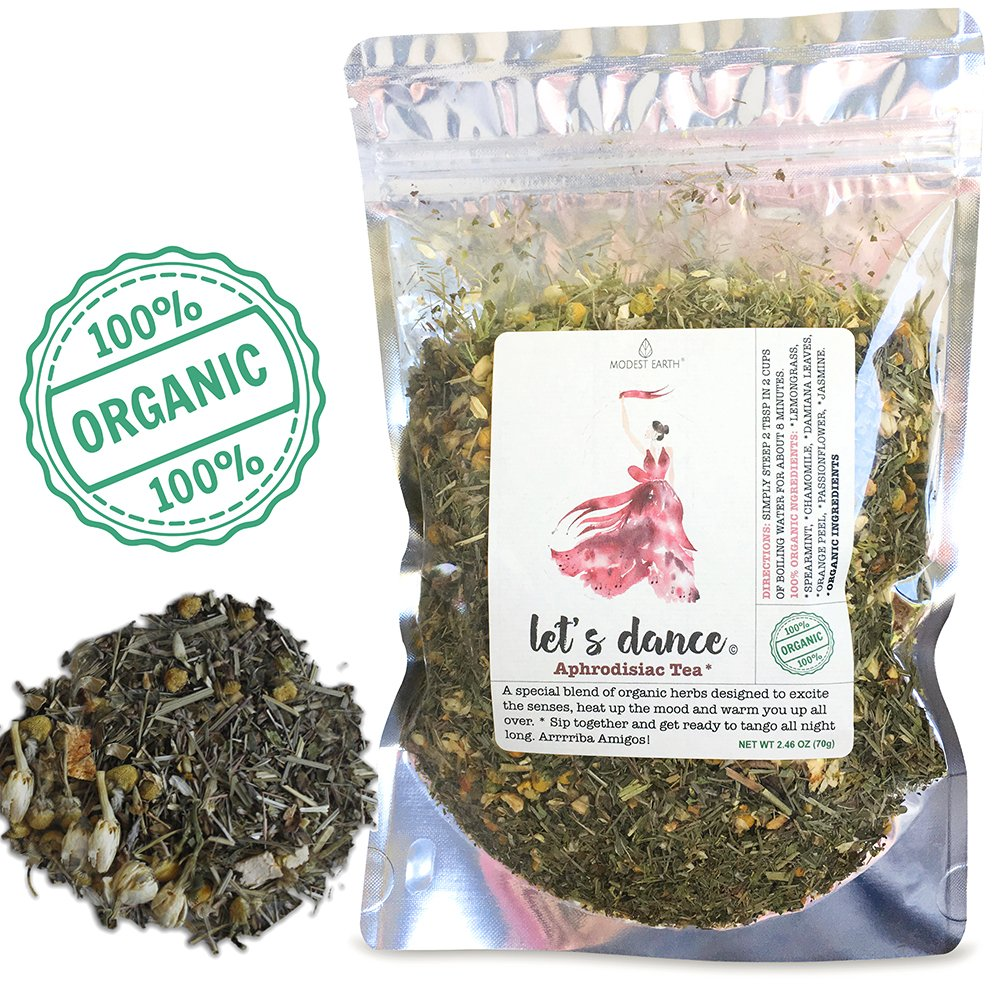 Let's Dance Romance Tea | ORGANIC Aphrodisiac Herbal Remedy | Damiana Blend | 48+ cups (2.46 OZ)