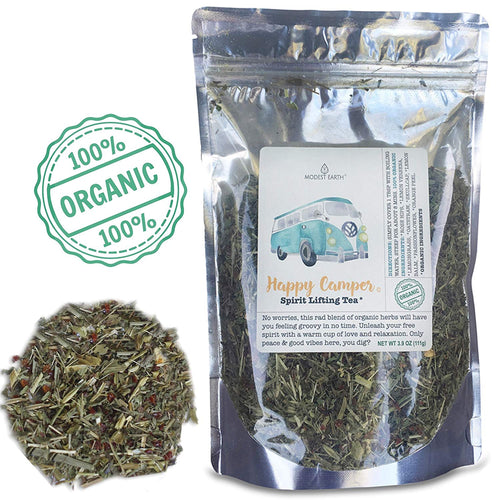 Happy Camper Calming Organic Herbal Tea.  Stress, Anxiety & Depression Aid. 48+ CUPS (3.9 OZ)