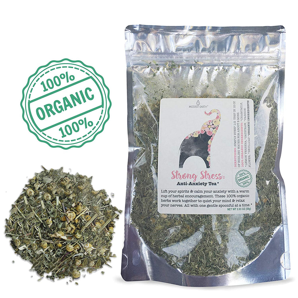 Strong Stress Skullcap Herbal Tea | Organic Depression, ANXIETY Manager & Sleep Aid | 48+ cups