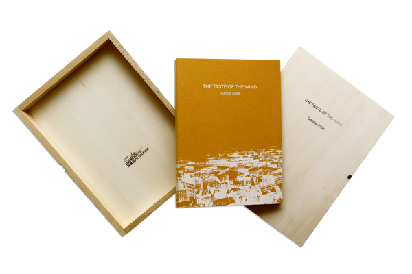 Wooden box and cover of the artist  book The Taste Of The Wind