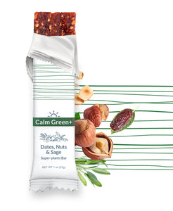 Included in box: Calm Green+ (bundle) - Dates, Nuts & Sage superfood bar