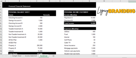 Personal Financial Statement - LegacyBranding