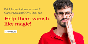 man with mouth pain - use canker sores begone stick