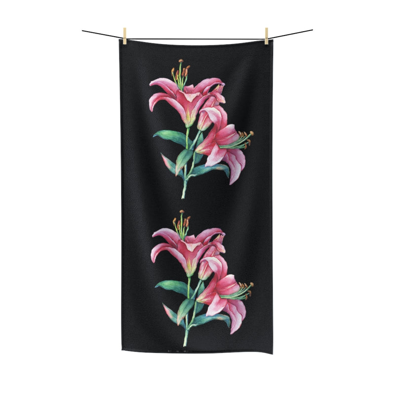 Black Pink Lilies Cotton Towel