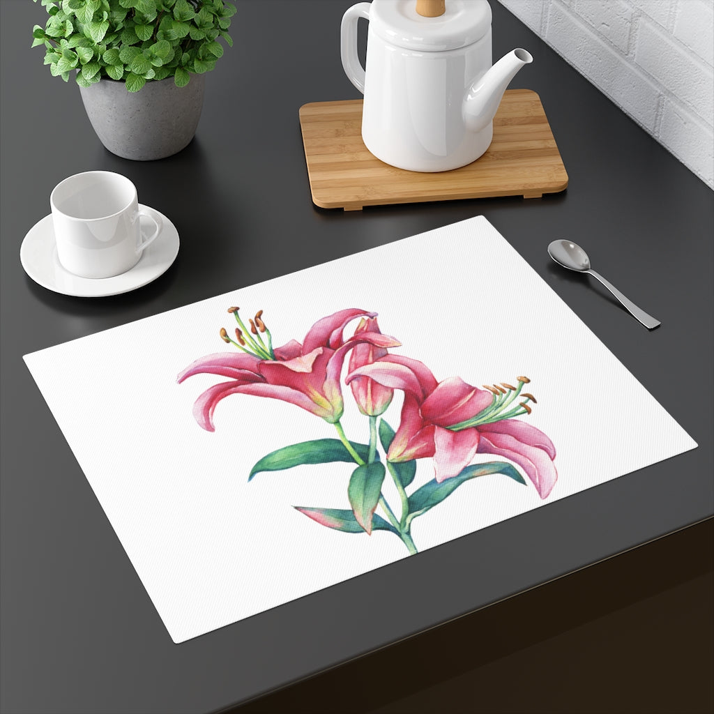 White Pink Lilies Placemat
