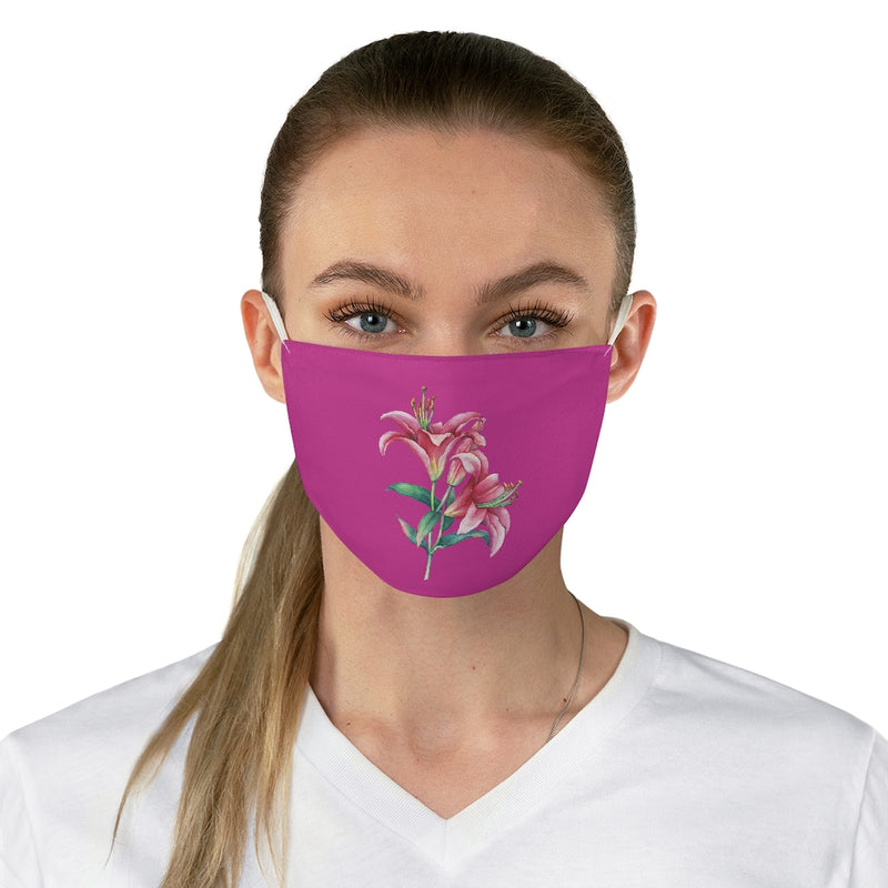 Shocking Pink Lily Fabric Face Mask