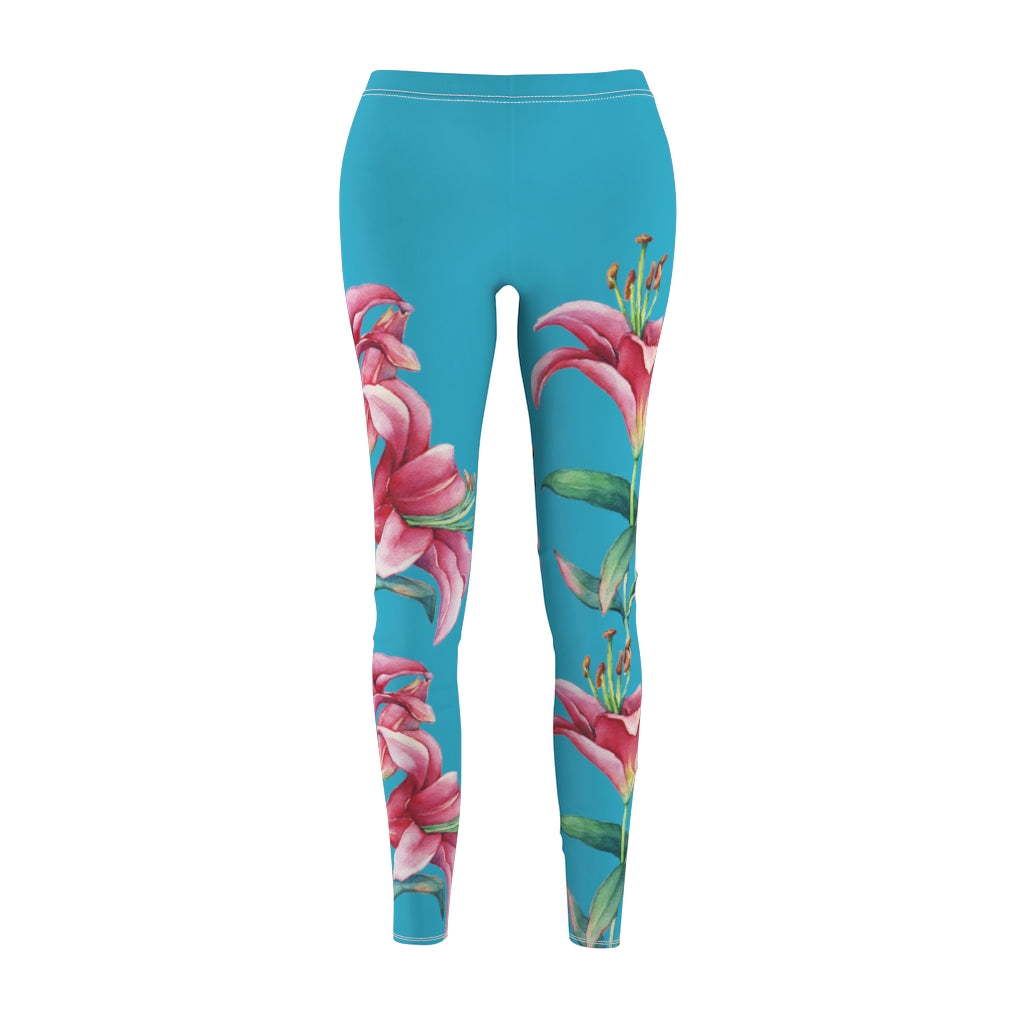 Turquoise Pink Lilies Leggings