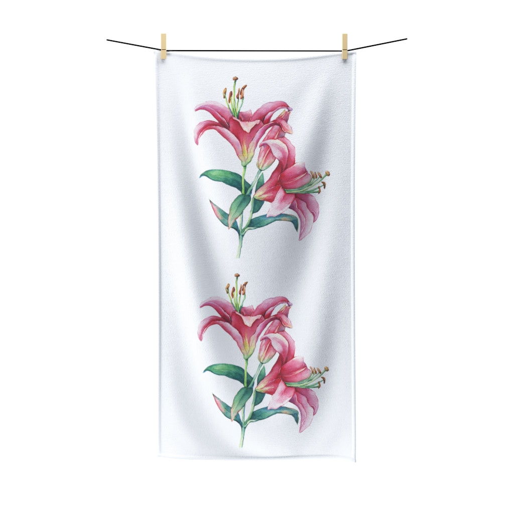 White Pink Lilies Cotton Towel
