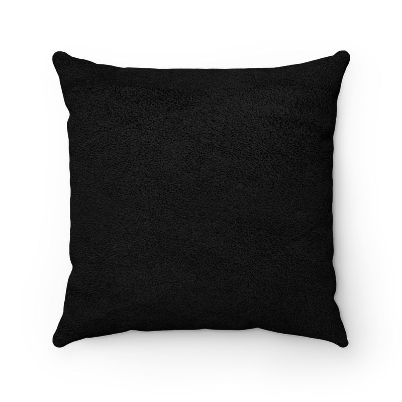 Black Pink Lilies Faux Suede Cushion