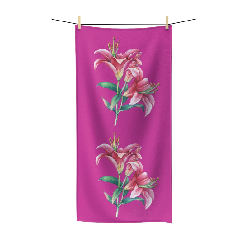 Pink Lilies Cotton Towel