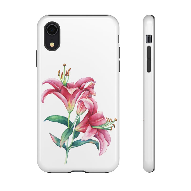 White Pink Lilies Tough Phone Case