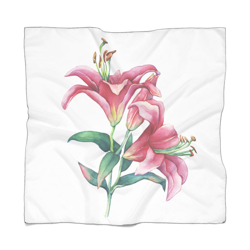 White Pink Lilies Scarf