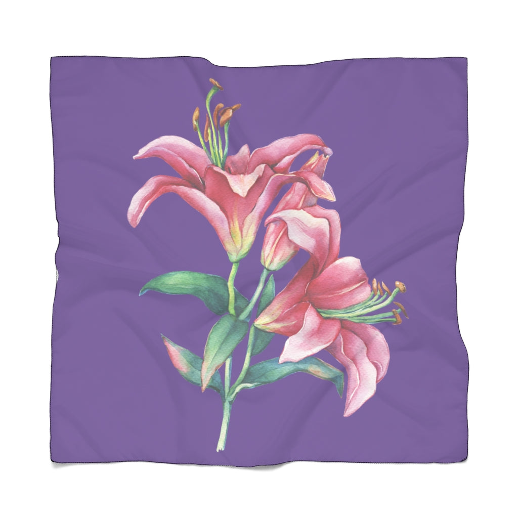 Purple Pink Lilies Scarf