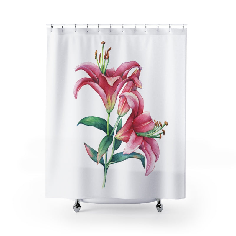 White Pink Lilies Shower Curtain