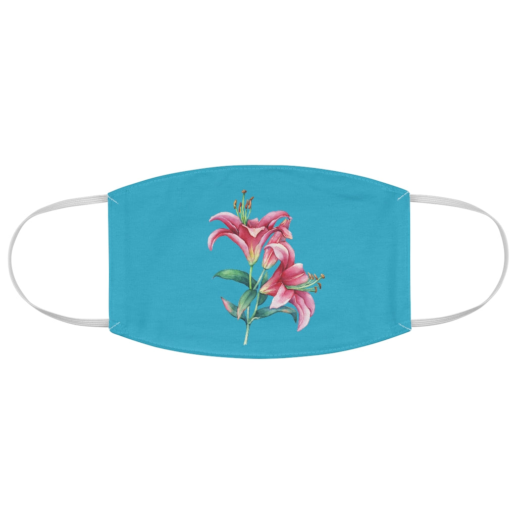 Turquoise Lily Fabric Face Mask