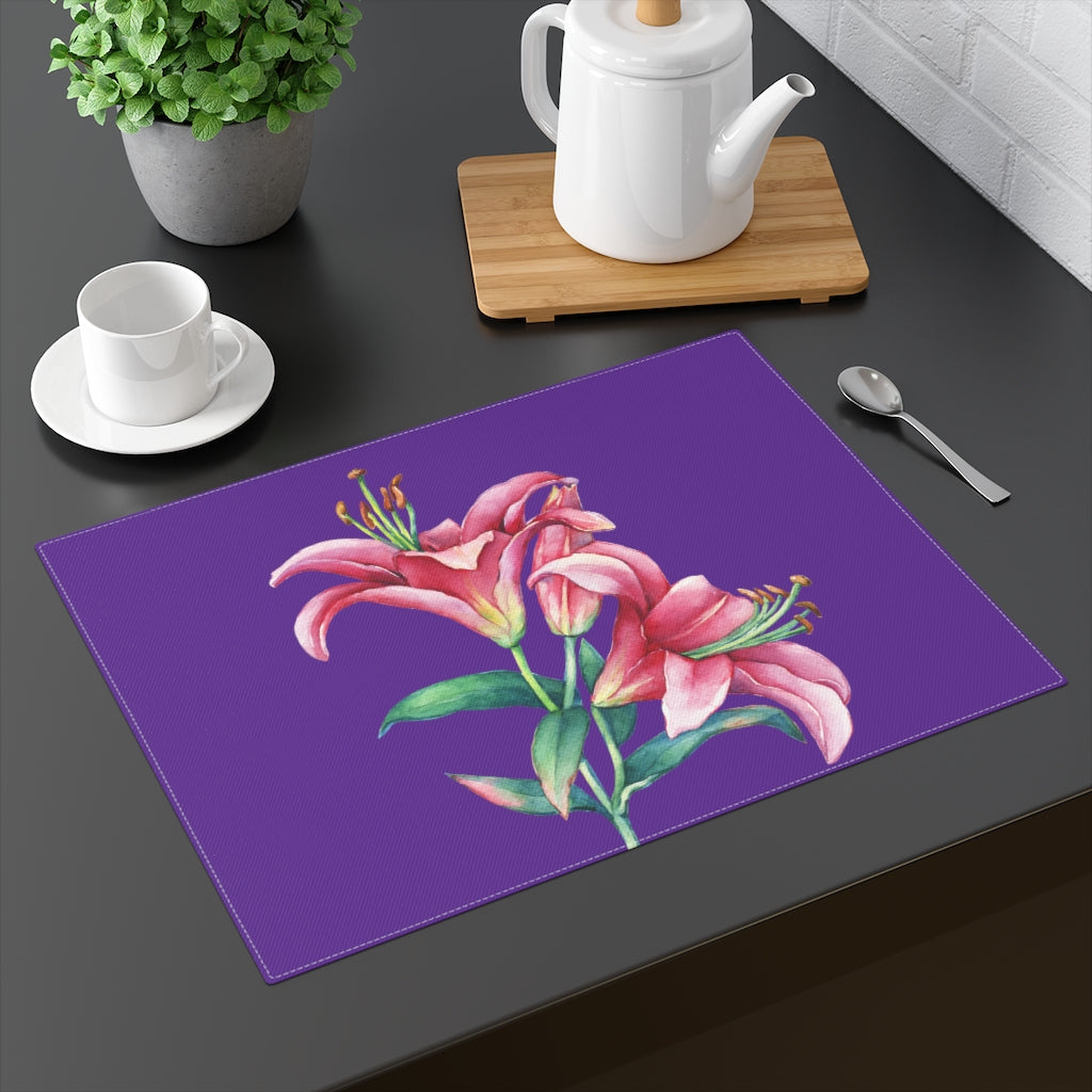 Purple Pink Lilies Placemat