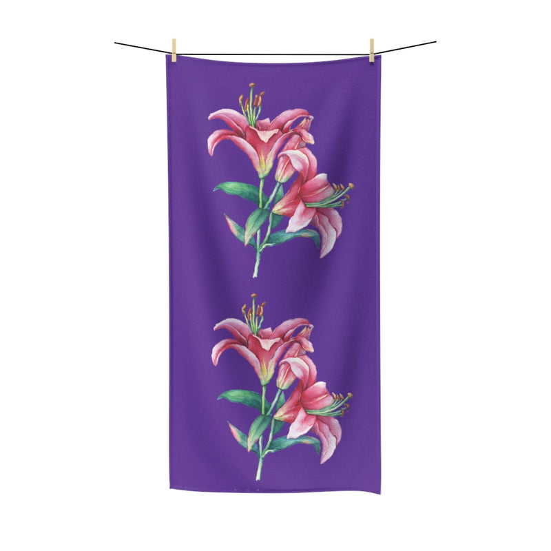 Purple Pink Lilies Cotton Towel