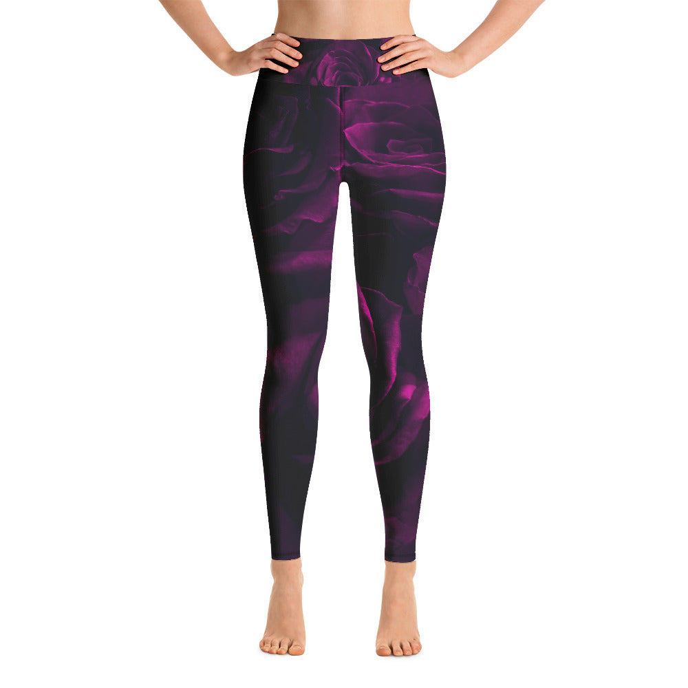 Purple Roses Elegant Printed Leggings