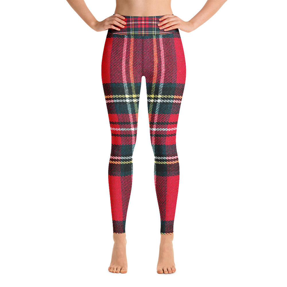 Red & Green Tartan Printed Leggings