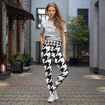 Black & White Houndstooth Check Printed Leggings