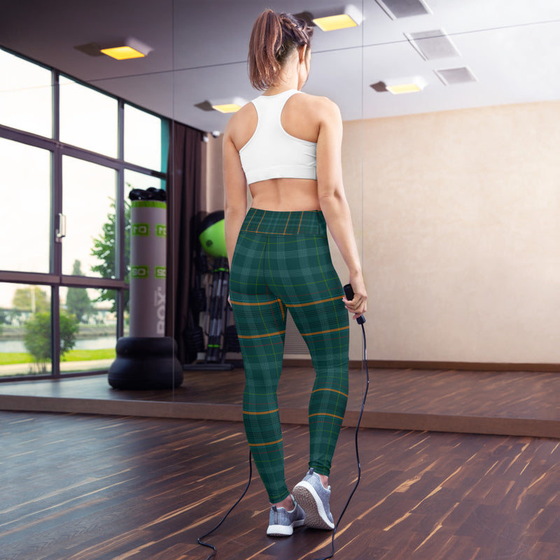 Green Tartan Printed Leggings