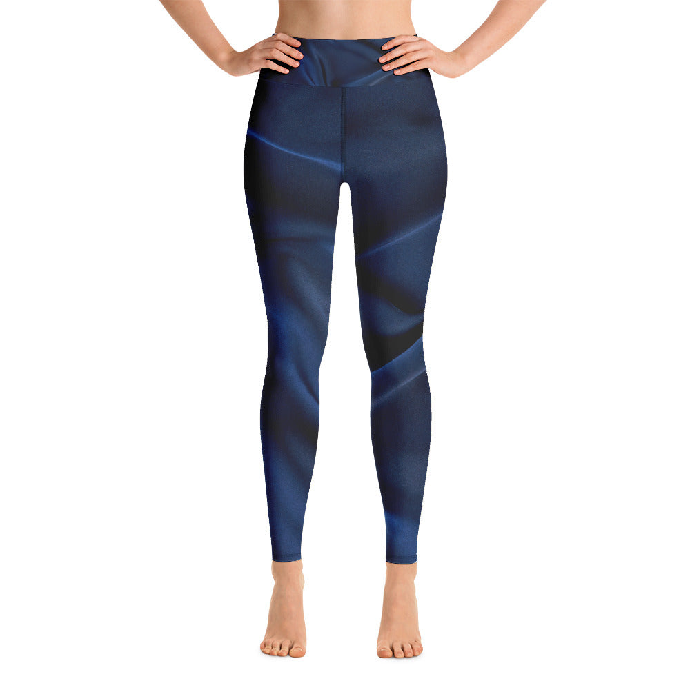 Navy Silk Look Printed Leggings