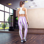 Purple & White Stripe Printed Leggings