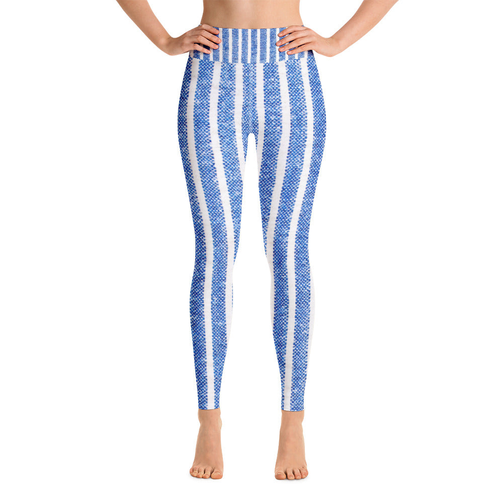 Blue & White Stripe Printed Leggings